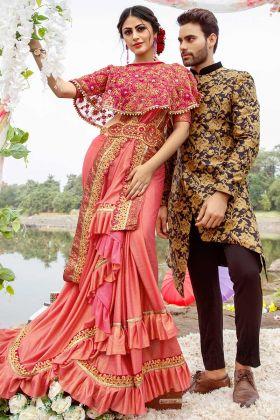 Pink Lycra Festive Saree In Thread Zari Work