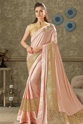Pink Lycra Party Wear Saree