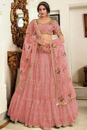 Pink Net Semi-Stitched Lehenga Santoon Inner For Choli