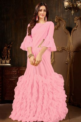 Pink Party Wear Pink Color Ruffle Saree