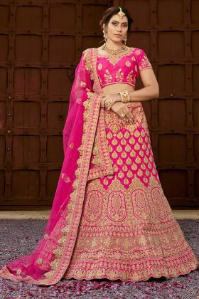 Pink Pure Heavy Silk Bridal Lehenga Choli