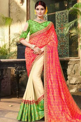 Pink Pure Jacquard Half and Half Saree With Embroidery Work