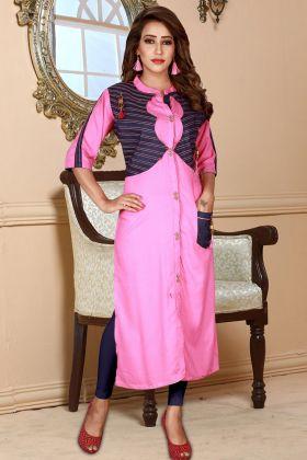 Pink Rayon Straight Kurti