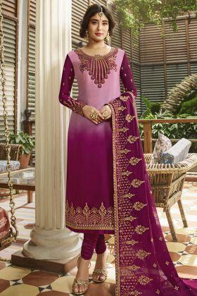 Pink Satin Georgette Festive Salwar Suit