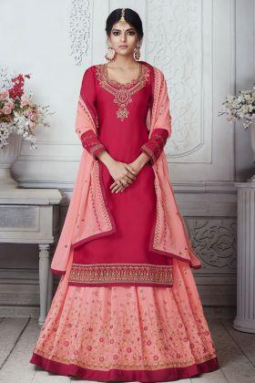 Pink Satin Georgette Indo Western Suit