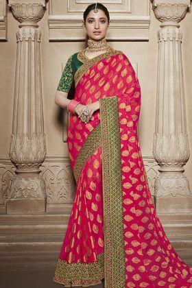 Pink Silk Traditional Saree