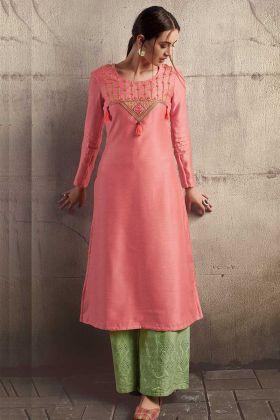 Pink Soft Art Silk Designer Kurti With Cotton Palazzo Set