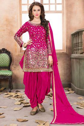 Pink Taffeta Silk Wedding Punjabi Salwar Kameez