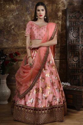 Pink Thai Silk Stylish Wedding Lehenga Choli