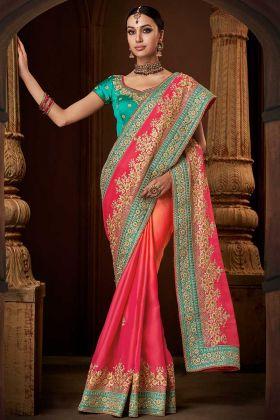 Pink To Orange Shaded Colour Satin Georgette Designer Saree