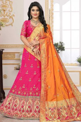 Pink Wedding Lehenga Silk Jacquard With Raw Silk Choli
