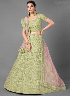 Pista Art Silk Designer Lehenga Choli