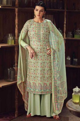 Pista Color Party Wear Wool Pashmina Kashmiri Plazzo Suit