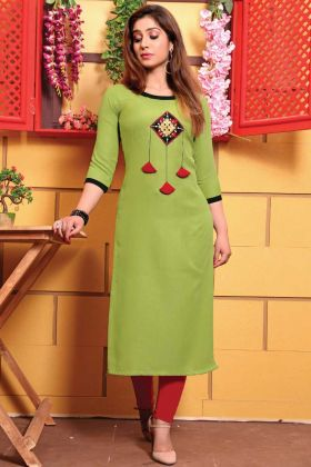 Pista Color Straight Cotton New Launching Kurti