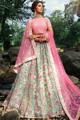 Pista Green Color Heavy Embroidery Work Wedding Lehenga Choli