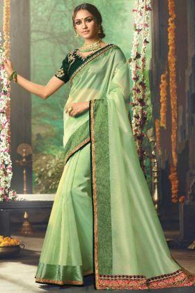 Pista Green Color Organza Saree For Festival