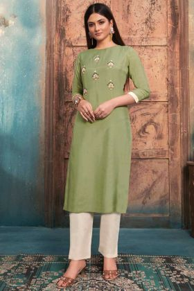 Pista Green Color Pure Muslin Womens Stitched Kurti With Bottom