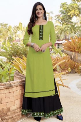 Pista Green Embroidered Slub Cotton Fancy Sharara Kurti