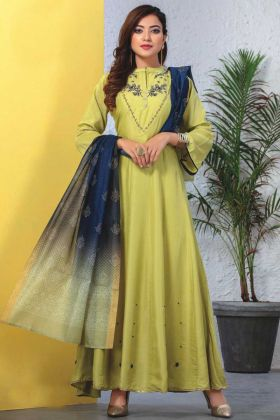 Pista Green Readymade Kurti With Dupatta