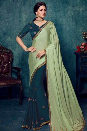 Pista Green Silk Saree with Pure Silk Blue Blouse