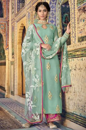 Pista Color Georgette Palazzo Salwar Suit With Embroidery Work