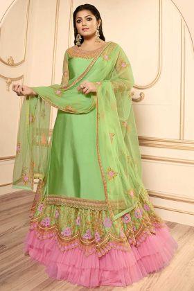 Pista Color Georgette Satin Indo Western Salwar Kameez With Embroidery Work