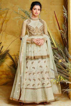 Pista Color Heavy Net With Pure Silk Indo Western Salwar Kameez