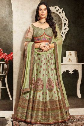 Pista Color Pure Heritage Soft Silk Partywear Lehenga With Embroidery Heavy Work