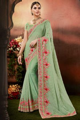 Pista Colour Silk Georgette Festival Saree