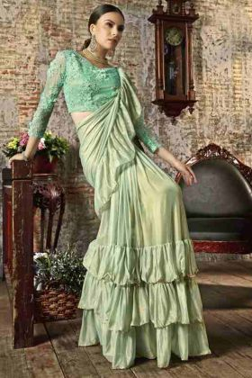 Pista Green Party Wear Ruffel Saree