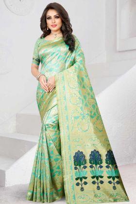 Pista Green Two Tone Silk Saree In Jacquard Work