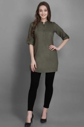 Plain Work Olive Green Rayon Tunic Readymade Kurti