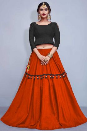 Plain Cotton Lehenga Choli in Orange Color