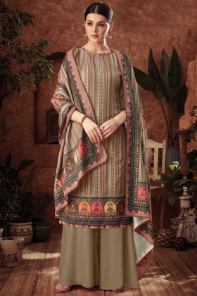 Plazzo Dress Beige Color With Pure Wool Pashmina Fabric