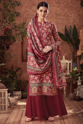 Plazzo Dress Maroon Color With Pure Wool Pashmina Fabric