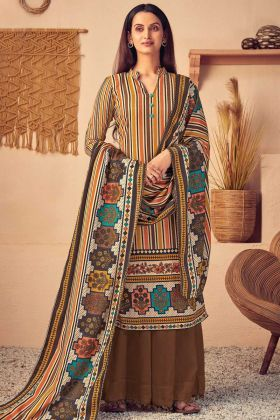 Plazzo Dress Multi Color With Pure Wool Pashmina Fabric
