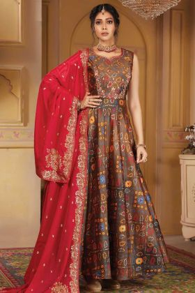 Pleasant Brown Color Silk Hand And Print Work Anarkali Suit