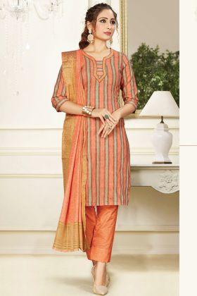 Pleasant Light Orange Cotton Salwar Suit For Party Wear