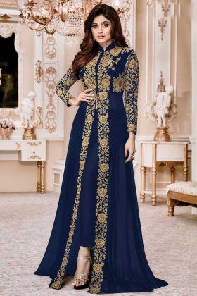 Pleasant Navy Blue Color Faux Georgette Fabric Designer Suit