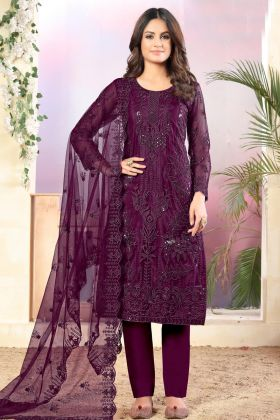 Pleasant Purple Color Net Fabric Semi Stitched Salwar Suit