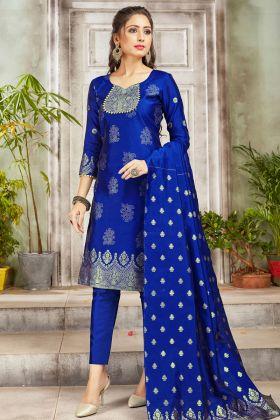 Pleasant Royal Blue Party Wear Banarasi Art Silk Salwar Suit