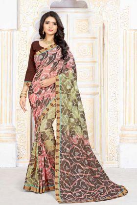 Pleasurable Chiffon Brasso Printed Designer Saree In Multi Color