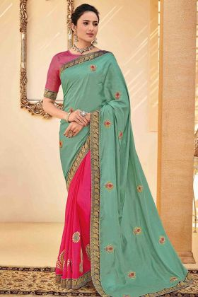 Poly Silk Half And Half Designer Saree Embroidery Work In Green Color