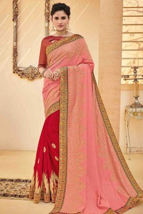 Poly Silk Half and Half Designer Saree Embroidery Work In Pink Color