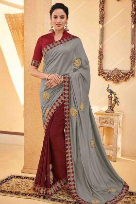 Poly Silk Half and Half Saree Embroidery Work In Grey Color