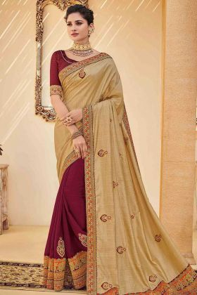 Poly Silk Half and Half Wedding Saree Embroidery Work Gold Color