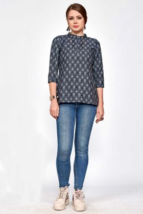 Polyester Blend Fancy Printed Tops In Black Color