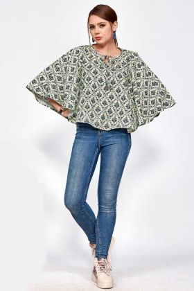 Polyester Blend Tunic Tops Pastel Green and Black Color With Paisley Pattern