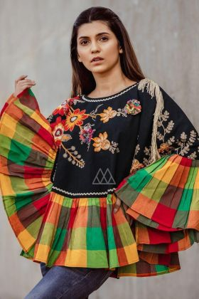 Poncho Top Khadi Fabric In Embroidered Work With Black Color