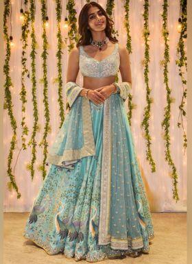 Pooja Hegde Sky Blue Printed Lehenga Choli